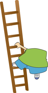 A large boy on an unstable ladder
